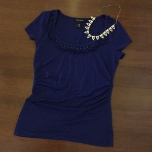 White House Black Market Blue Shirt with Ruffle